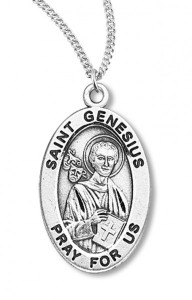 Boy's St. Genesius Necklace Oval Sterling Silver with Chain [HMR1145]