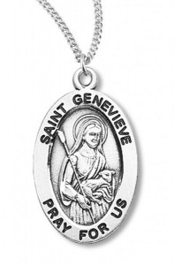 Women's St. Genevieve Necklace Oval Sterling Silver with Chain Options [HMR1212]