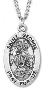 Men's St. George Necklace Oval Sterling Silver with Chain Options [HMR0876]