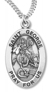 St. George Necklace Oval Sterling Silver with Chain [HMR1146]