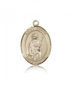 St. Grace Medal, 14 Karat Gold, Large [BL2007]