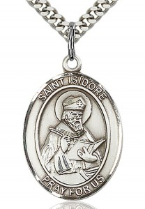 St. Isidore of Seville Medal, Sterling Silver, Large [BL2121]