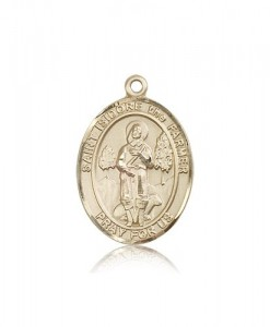 St. Isidore the Farmer Medal, 14 Karat Gold, Large [BL2124]