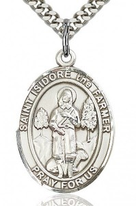 St. Isidore the Farmer Medal, Sterling Silver, Large [BL2130]