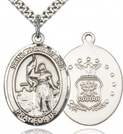 St. Joan of Arc Air Force Medal, Sterling Silver, Large [BL2217]