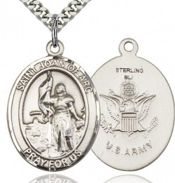 St. Joan of Arc Army Medal, Sterling Silver, Large [BL2226]