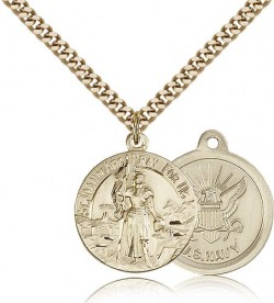 St. Joan of Arc Navy Medal, Gold Filled [BL4200]