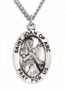 Men's St. Joan of Arc Necklace Oval Sterling Silver with Chain Options [HMR0891]