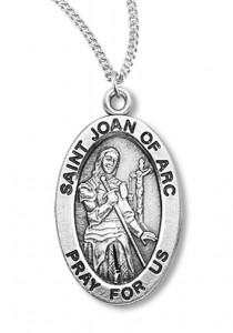 Women's St. Joan of Arc Necklace Oval Sterling Silver with Chain Options [HMR1217]