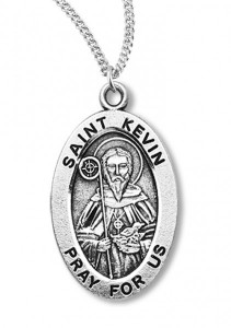 Boy's St. Kevin Necklace Oval Sterling Silver with Chain [HMR1161]