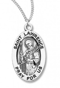 Boy's St. Lawrence Necklace Oval Sterling Silver with Chain [HMR1162]