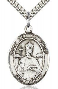 St. Leo the Great Medal, Sterling Silver, Large [BL2598]