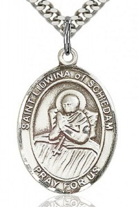 St. Lidwina of Schiedam Medal, Sterling Silver, Large [BL2607]