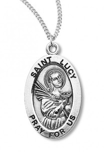Women's St. Lucy Necklace Oval Sterling Silver with Chain Options [HMR1219]