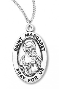 Women's St. Margaret Necklace Oval Sterling Silver with Chain Options [HMR1220]