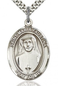St. Maria Faustina Medal, Sterling Silver, Large [BL2738]