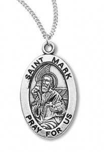 Boy's St. Mark Necklace Oval Sterling Silver with Chain [HMR1165]