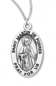 Boy's St. Martin De Porres Necklace Oval Sterling Silver with Chain [HMR1167]