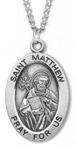 Men's St. Matthew Necklace Oval Sterling Silver with Chain Options [HMR0881]