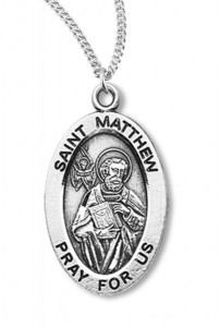 Boy's St. Matthew Necklace Oval Sterling Silver with Chain [HMR1166]