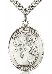 St. Matthew the Apostle Medal, Sterling Silver, Large [BL2819]