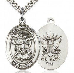 St. Michael Navy Medal, Sterling Silver, Large [BL2916]
