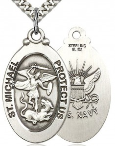 St. Michael Navy Medal, Sterling Silver [BL5953]