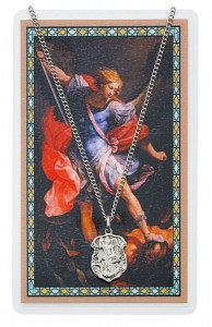 St. Michael Prayer Shield Pendant and Police Officer Prayer Card Set [MPCMV003SM]