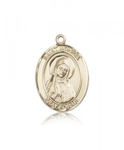 St. Monica Medal, 14 Karat Gold, Large [BL2940]