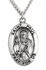 Men's St. Paul Necklace Oval Sterling Silver with Chain Options [HMR0885]