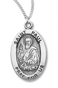 Boy's St. Paul Necklace Oval Sterling Silver with Chain [HMR1171]