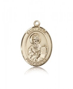St. Paul the Apostle Medal, 14 Karat Gold, Large [BL3015]
