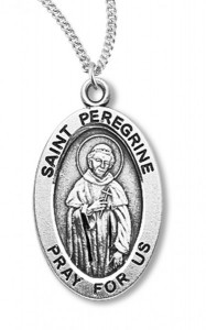 Women's/Boy's St. Peregrine Necklace Oval Sterling Silver with Chain [HMR1172]
