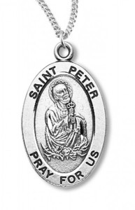Boy's St. Peter Necklace Oval Sterling Silver with Chain [HMR1173]