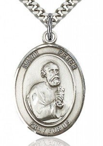 St. Peter the Apostle Medal, Sterling Silver, Large [BL3066]