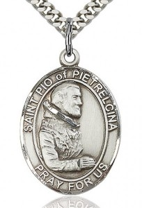 St. Pio of Pietrelcina Medal, Sterling Silver, Large [BL3111]