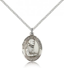 St. Pio of Pietrelcina Medal, Sterling Silver, Medium [BL3112]