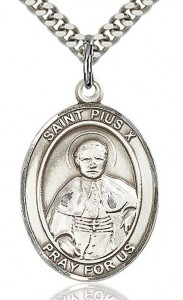 St. Pius X Medal, Sterling Silver, Large [BL3120]
