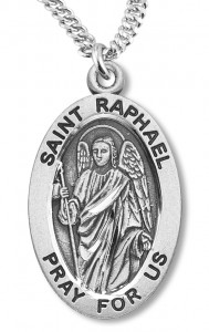 Boy's St. Raphael Necklace Oval Sterling Silver with Chain [HMR1176]