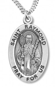 Boy's St. Raymond Necklace Oval Sterling Silver with Chain [HMR1177]