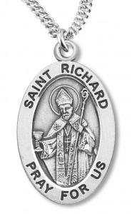 Boy's St. Richard Necklace Oval Sterling Silver with Chain [HMR1178]