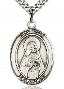 St. Rita of Cascia Medal, Sterling Silver, Large [BL3255]