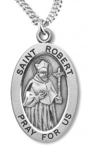 Boy's St. Robert Necklace Oval Sterling Silver with Chain [HMR1179]