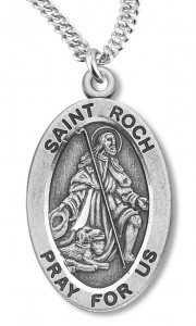 Boy's St. Roch Necklace Oval Sterling Silver with Chain [HMR1180]