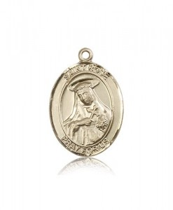 St. Rose of Lima Medal, 14 Karat Gold, Large [BL3303]