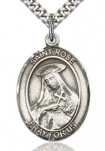 St. Rose of Lima Medal, Sterling Silver, Large [BL3309]