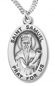 Boy's St. Samuel Necklace Oval Sterling Silver with Chain [HMR1183]