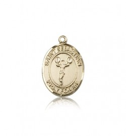 St. Sebastian Cheerleading Medal, 14 Karat Gold, Medium [BL3387]