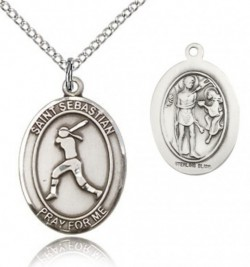 St. Sebastian Softball Medal, Sterling Silver, Medium [BL3572]