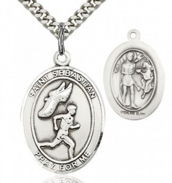 St. Sebastian Track and Field Medal, Sterling Silver, Large [BL3630]
